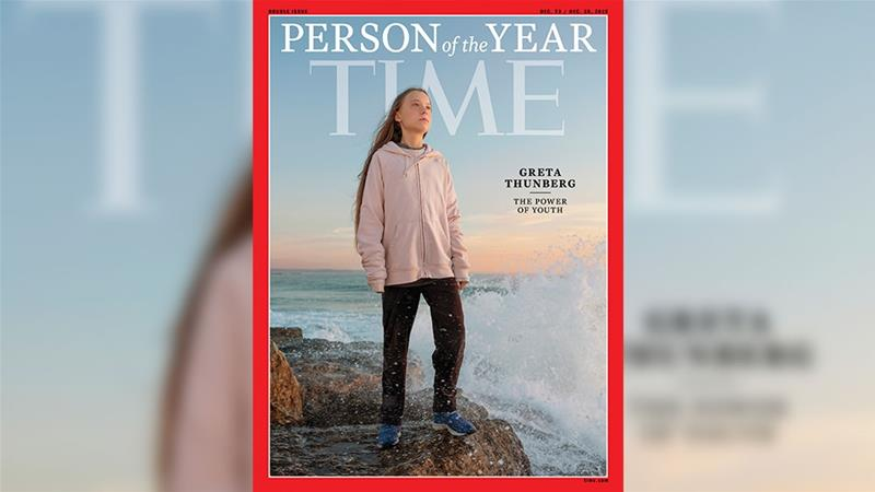 This handout image released on December 11, 2019 courtesy of Time shows the Time person of the Year cover with Greta Thunberg [Handout/Evgenia Arbugaeva/TIME/AFP]