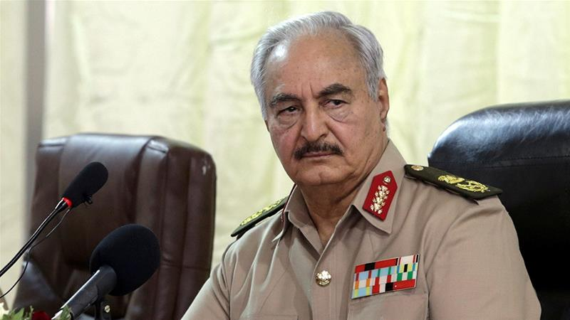 Haftar's forces said they carried out air strikes on Friday in several places, including south of the city of Sirte and in Tripoli [Esam Omran Al-Fetori/Reuters]