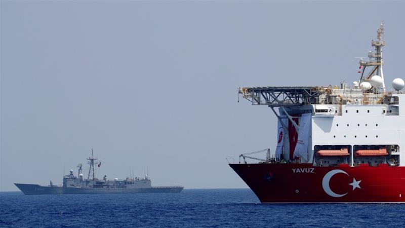 The Turkish drilling vessel Yavuz is escorted by TCG Gemlik, a frigate of the Turkish navy in the eastern Mediterranean off Cyprus, in this file photo from August 2019 [Murad Sezer/Reuters]