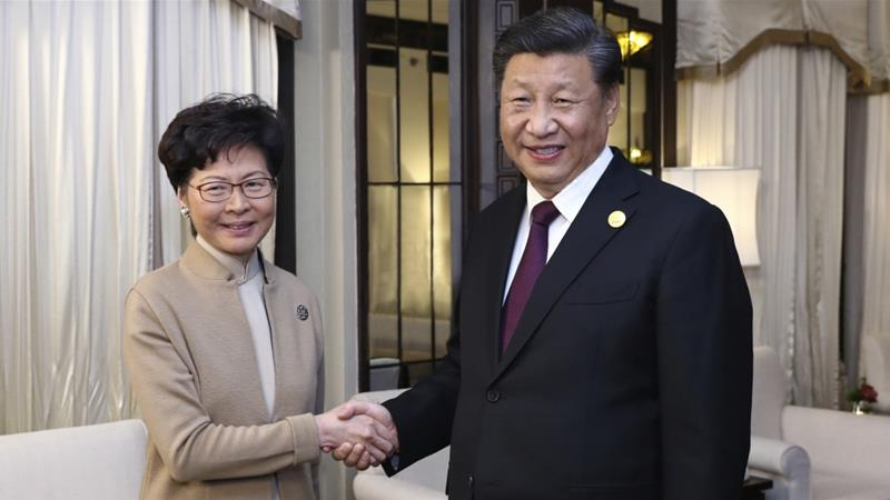 Report says Lam will hold a meeting with Chinese President Xi Jinping on Monday [File: Ju Peng/Xinhua via AP]