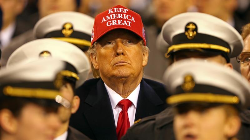 President Donald Trump watches the action during the second half of the Army-Navy game at Lincoln Financial Field on December 14, 2019 [Danny Wild-USA TODAY Sports via Reuters]