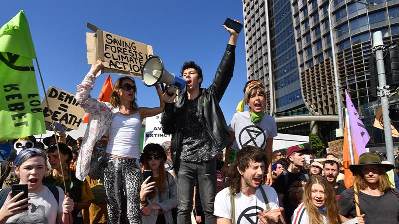Some Australian states are cracking down on climate activists like Extinction Rebellion with tough new laws that could send protesters to jail [File: Dan Peled/EPA]