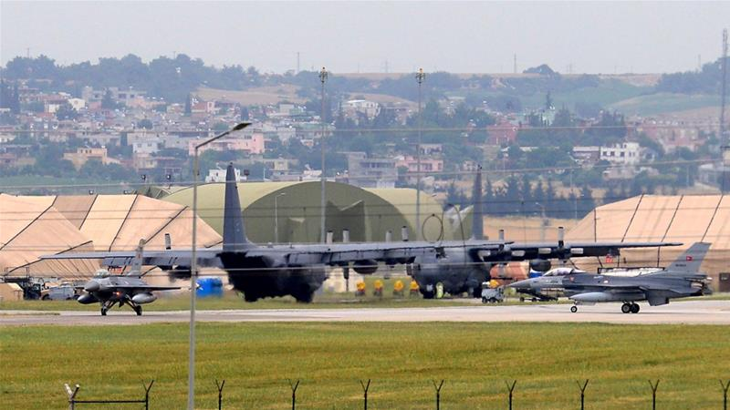 Military aircraft are seen at the airbase in Incirlik, in Adana city, Turkey in 2017 [Murat Kibritoglu/EPA]