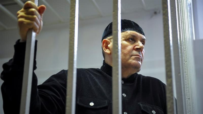 Oyub Titiev, head of Memorial in Chechnya, was arrested in January 2018 and sentenced in March 2019 to four years' labour in a penal colony. He was released in June, having served a third of his sentence since his arrest [Said Tsarnayev/Reuters]