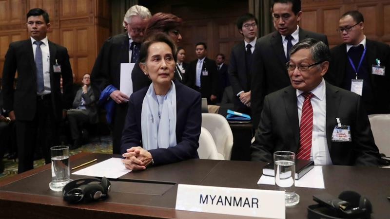 Myanmar's leader Aung San Suu Kyi attends a hearing of the genocide case against the Rohingya minority at the International Court of Justice in The Hague on December 11, 2019 [Reuters/Yves Herman]