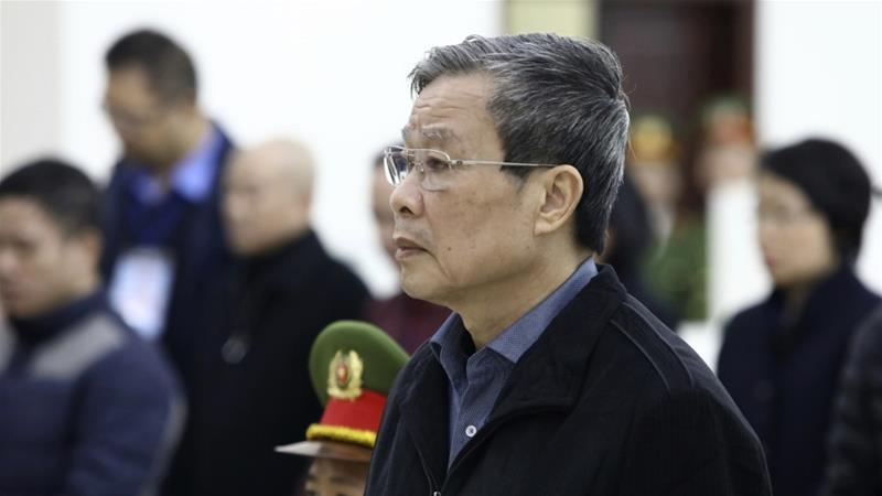 The Hanoi court sentenced Nguyen Bac Son to life in prison in a case that also saw another minister and a dozen executives receive lengthy prison terms [Nguyen Van Diep/VNA via AP]