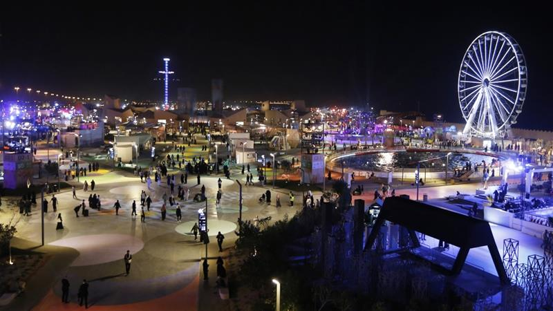 In this file photo, people spend the evening at the Diriyah Oasis amusement park on the outskirts of Riyadh, Saudi Arabia [File: Amr Nabil/AP Photo]