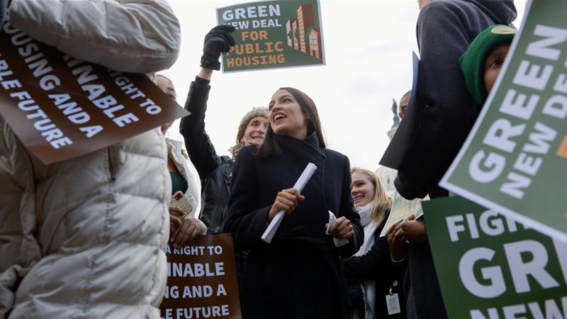 Congresswoman Alexandria Ocasio-Cortez announces the introduction of public housing legislation as part of the Green New Deal in Washington on November 14, 2019 [Reuters/Erin Scott]