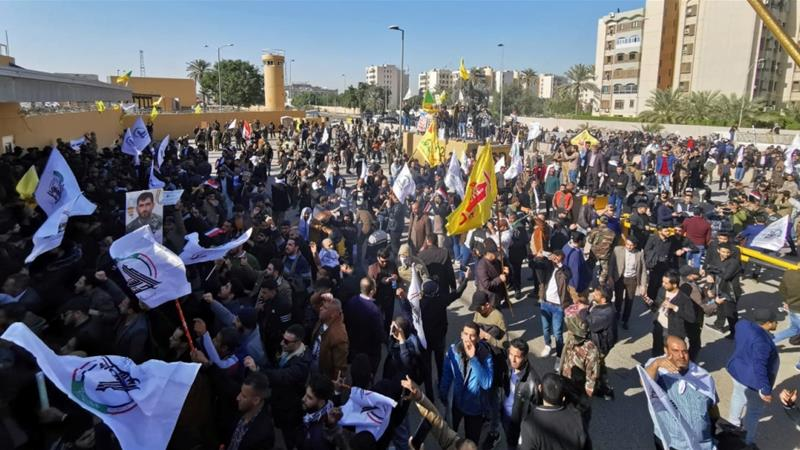 Iraqi protesters attempt to storm US embassy in Baghdad