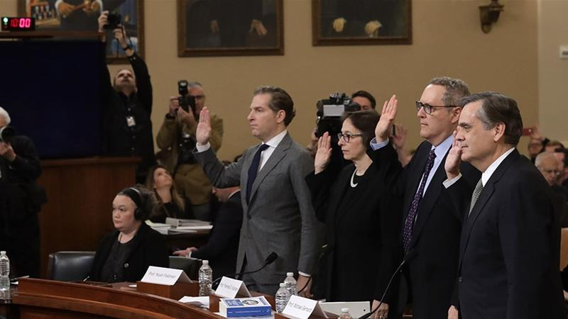 Constitutional scholars Noah Feldman of Harvard University, Pamela Karlan of Stanford University, Michael Gerhardt of the University of North Carolina, and Jonathan Turley of George Washington University are sworn in prior to testifying before the House Judiciary Committee [Alex Wong/Getty Images]