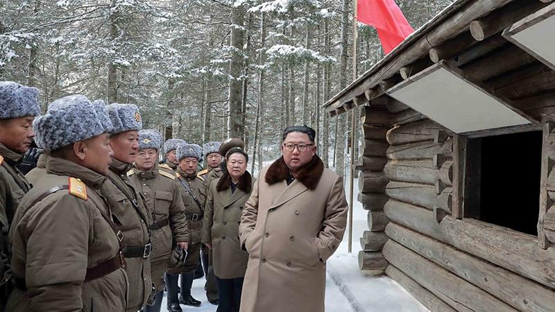 North Korean leader Kim Jong Un has been ratcheting up the pressure on the US with denuclearisation talks stalled [KCNA via Reuters]