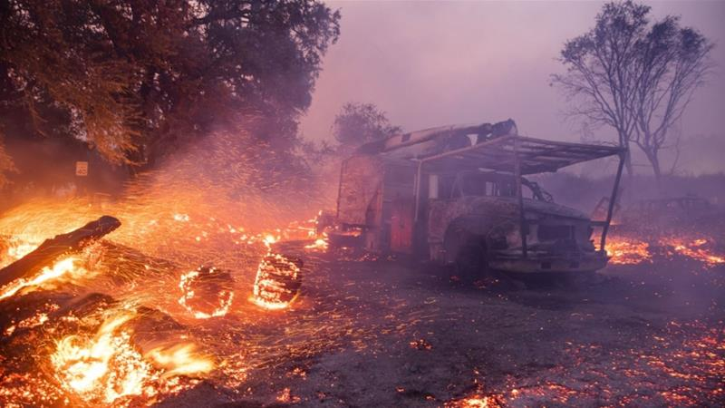 PG&E filed for Chapter 11 bankruptcy in January after its equipment was blamed for starting catastrophic wildfires in 2017 and 2018, burying it in an estimated $30bn worth of liabilities [File: Phil Pacheco/Bloomberg]