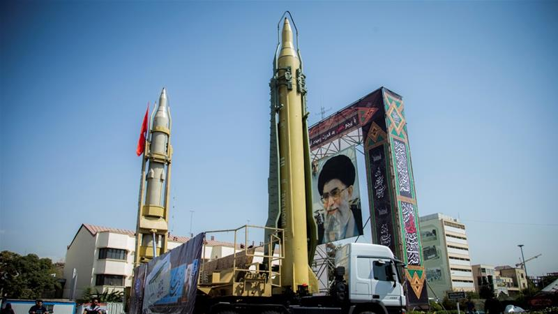 A display featuring missiles and a portrait of Iran's Supreme Leader Ayatollah Ali Khamenei is seen at Baharestan Square in Tehran in September 2017 [File: Nazanin Tabatabaee Yazdi/Tima via Reuters]