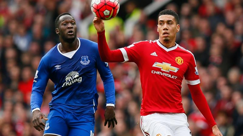 Romelu Lukaku (left) and Chris Smalling (right) pictured during an English Premier League match [File: Jason Cairnduff/Reuters]