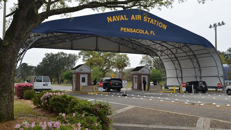 Three people were killed and eight wounded at a US Navy base in Pensacola [Handout/Patrick Nichols/US Navy/Reuters]