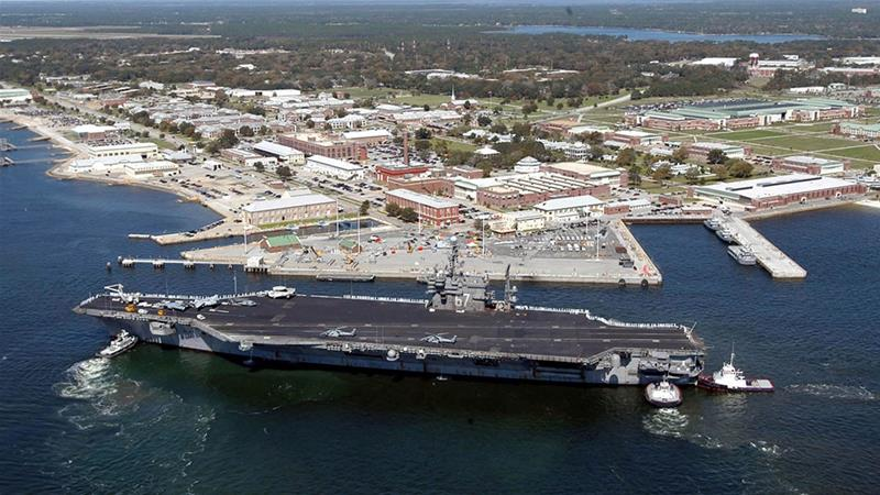 The aircraft carrier USS John F Kennedy arrives for exercises at Naval Air Station Pensacola, Florida [Handout/US Navy/Patrick Nichols]