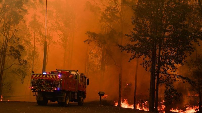 Australia bushfires combine to form