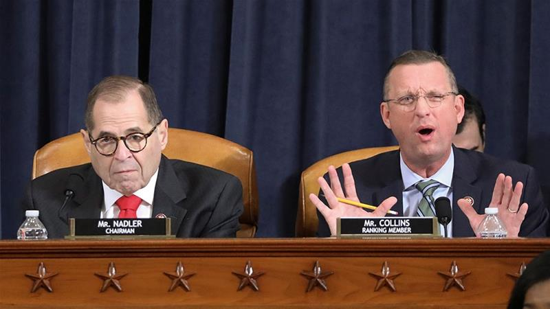 Republican House Judiciary Committee ranking member Doug Collins delivers his opening statement as Chairman Jerrold Nadler listens at the start of a House Judiciary Committee hearing [Jonathan Ernst/Reuters]