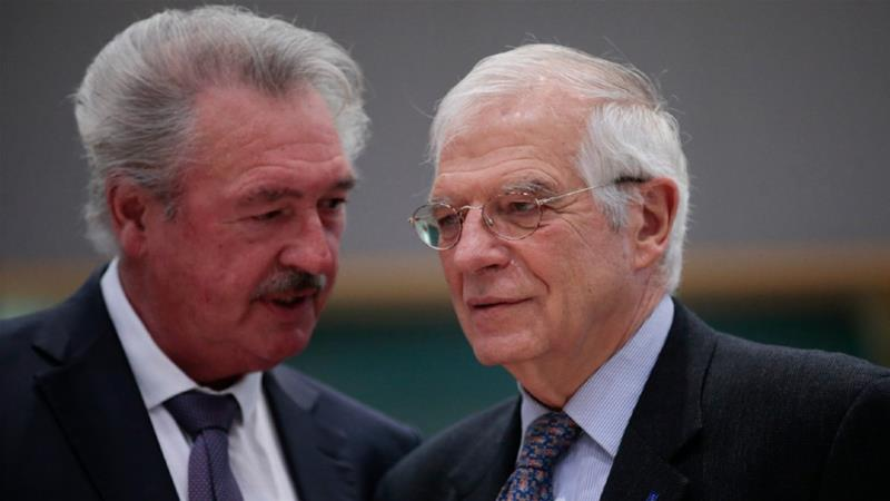 Josep Borrell, right, and was urged by Luxembourg's Jean Asselborn to restart the debate about recognising the statehood of Palestine [Olivier Hoslet/EPA-EFE]