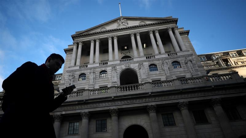 The Bank of England has warned the UK economy may shrink by up to eight percent in the event of a no-deal Brexit [Hannah McKay/Reuters]