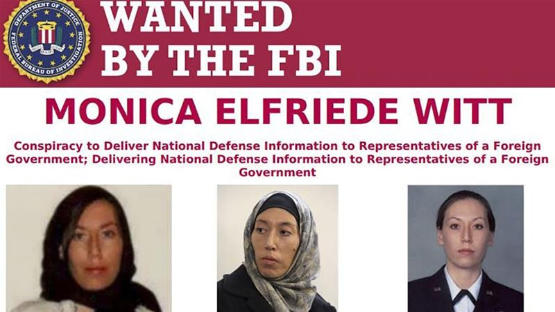 This image released on February 13, 2019, courtesy of the FBI shows a wanted poster for Monica Elfriede Witt, 39, a former US air force counterintelligence officer [Handout/FBI/AFP]