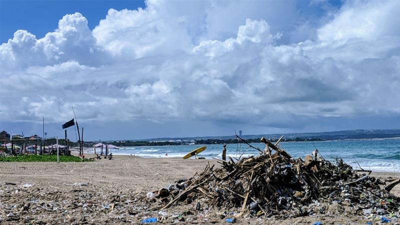 A pile of rubbish on Bali's Kuta beach. The island has banned plastic bags, straws and styrofoam containers to deal with the problem [Kate Walton/Al Jazeera].