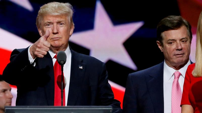 Trump and Manafort at the Republican National Convention in Cleveland on July 21, 2016 [File: Rick Wilking/Reuters]