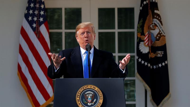 Trump declares a national emergency at the US-Mexico border during remarks about border security in the Rose Garden [Carlos Barria/Reuters]