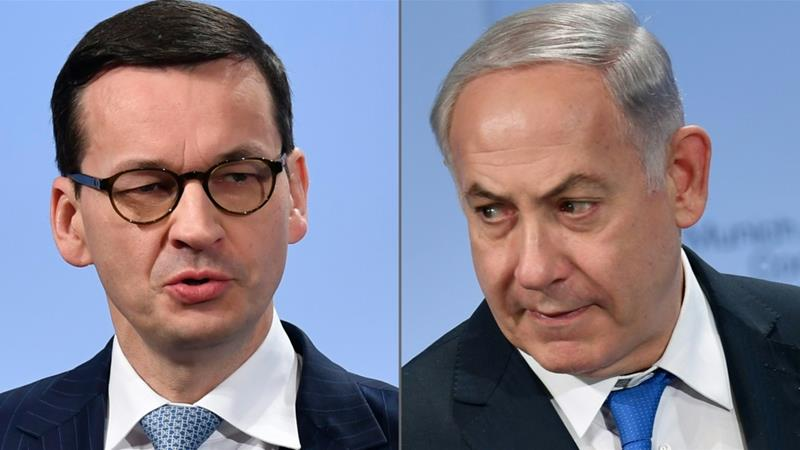 Morawiecki (L) withdrew from a summit of four central European nations in Jerusalem [Thomas Kienzle/AFP]
