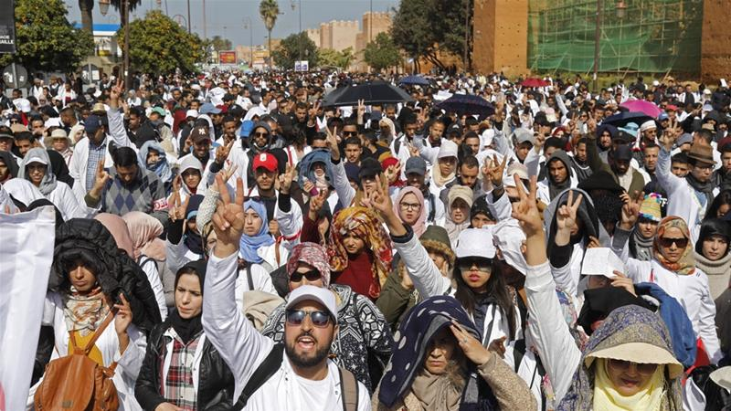 Moroccan public school teachers take part in a demonstration in the capital Rabat [AFP]