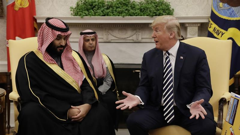 President Donald Trump meets with Saudi Crown Prince Mohammed bin Salman (MBS) in the Oval Office of the White House [File: Evan Vucci/AP Photo]