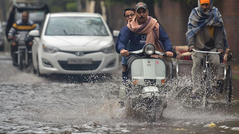 The winter storm also affected northern India, which saw very heavy rain [Narinder Nanu/AFP]