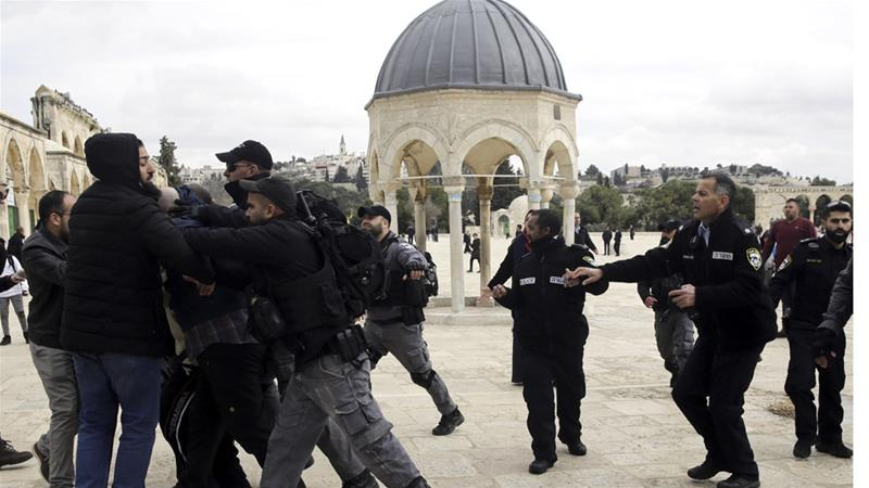 Israeli police confronted Palestinians on Monday who had prayed in a section of the Al-Aqsa Mosque compound that has been closed by an Israeli court order for 16 years [Mahmoud Illean/AP Photo]