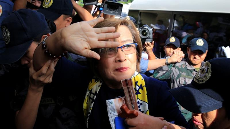 De Lima said the drug charges filed against her by the Duterte administration are 'absolute lie and fabrications' [Romeo Ranoco/Reuters]
