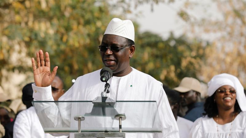 Senegal's President Macky Sall speaks after casting his vote at a polling station in Fatick, Senegal [Zohra Bensemra/Reuters]