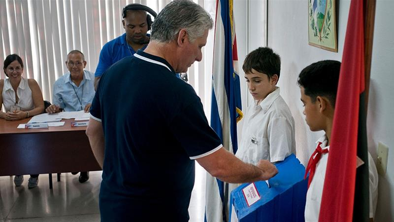 Cuba''s President Miguel Diaz-Canel votes during a referendum on the new constitution in Havana, Cuba [Ramon Espinosa/AP Photo]
