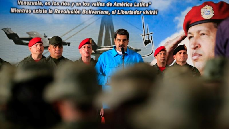 Venezuela's President Nicolas Maduro speaks to soldiers while he attends a military exercise in Maracaibo, Venezuela on February 6, 2019 [File: Handout via Reuters]