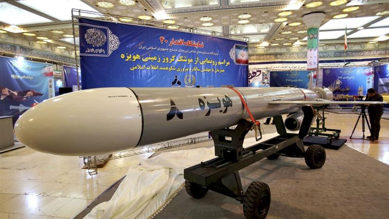 Iran unveiled the new Hoveizeh cruise missile during celebrations of the 40th anniversary of the Iranian revolution. [Iranian Defense Ministry/AP]