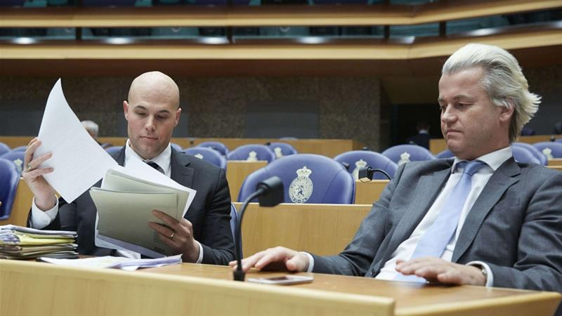 Wilders (right) compared van Klaveren's (left) conversion to a 'vegetarian working in a slaughterhouse' [Martijn Beekman/AFP]