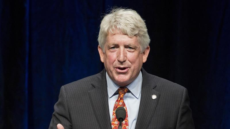 Attorney General Mark Herring speaks at a Virginia Democratic Party annual fundraiser in 2015 [File: Joshua Roberts/Reuters]