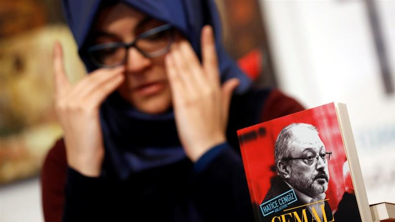Hatice Cengiz, fiancee of Jamal Khashoggi, attends a news conference to present a book about him [Murad Sezer/Reuters]