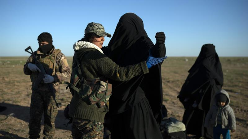 The SDF checks everyone who came out of ISIL's last stronghold, now just a small sliver of territory [Felipe Dana/AP]