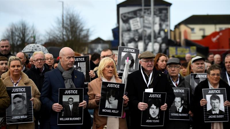 Relatives of those killed held a march through Londonderry on Thursday [Clodagh Kilcoyne/Reuters]