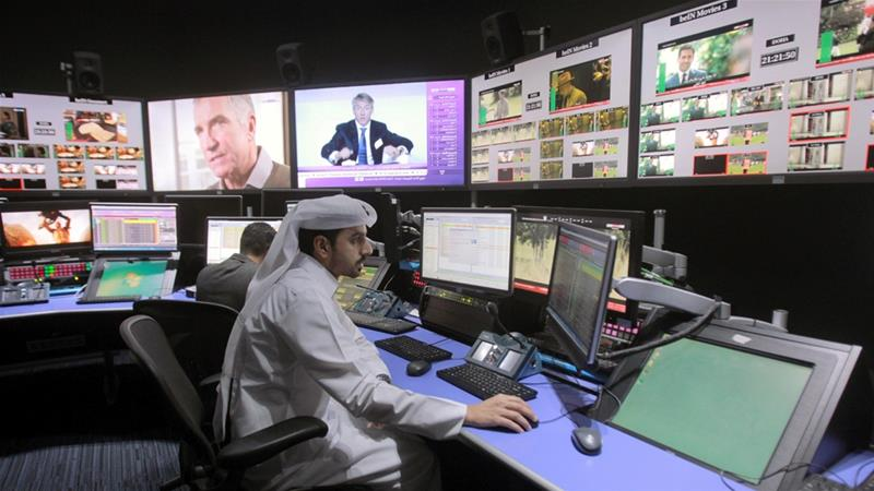 A control room at the beIN Sports studio that will broadcast the 2022 FIFA World Cup in Doha [Naseem Zeitoon/Reuters]