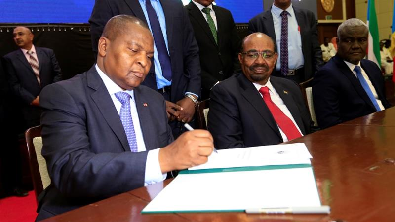 CAR President Faustin Archange Touadera seen at a signing ceremony following two weeks of peace talks in the Sudanese capital Khartoum, February 5, 2019 [Mohamed Nureldin Abdallah/Reuters]