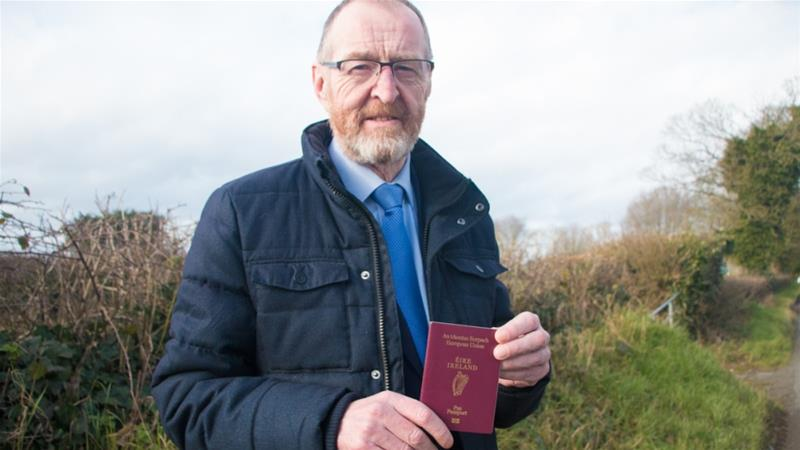Bernard Boyle holds an Irish passport. Irish residents of Northern Ireland fear not being able to exercise the right to identify as Irish under the Good Friday Agreement [Ylenia Gostoli/Al Jazeera]