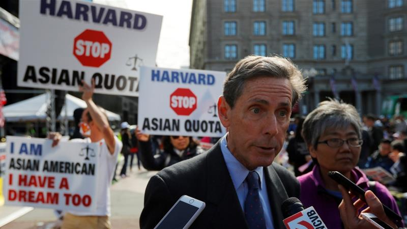 File: Anti-affirmative action activist Edward Blum speaks to reporters about his claims that Harvard University is discriminating against Asian-Americans, October 14, 2018 [File:Brian Snyder/Reuters]