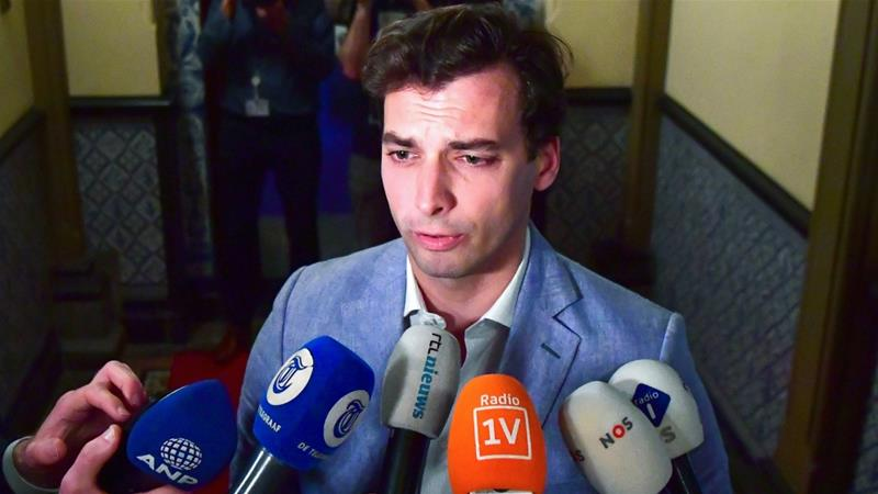 Forum for Democracy party leader Thierry Baudet talks to the press on March 21, 2019 in The Hague, the Netherlands, a day after his party won the Provincial Councils election [Robin Utrecht/ANP/AFP]