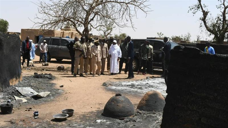 The March 23 killings were carried out by suspected hunters from the Dogon community on Ogossagou, a village in central Mali populated by rival Fulani herders [Malian Presidency/Handout via Reuters]