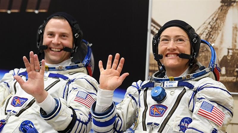 Had Koch and McClain done their spacewalk together, it would have been the first ever by two women astronauts [Kirill Kudryavtsev/AFP]